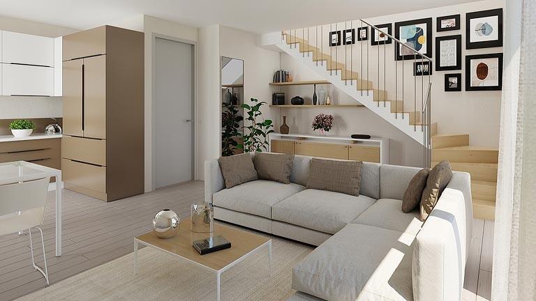 Render soggiorno unifamiliare